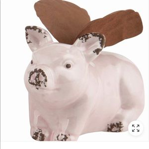 Small Pink Ceramic Pig with Metal Wings